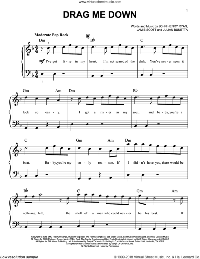 Drag Me Down sheet music for piano solo by One Direction, Jamie Scott, John Henry Ryan and Julian Bunetta, beginner skill level