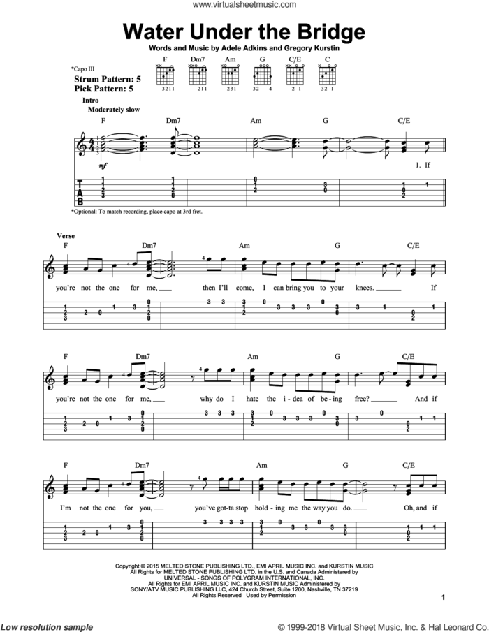 Water Under The Bridge sheet music for guitar solo (easy tablature) by Adele, Adele Adkins and Gregory Kurstin, easy guitar (easy tablature)