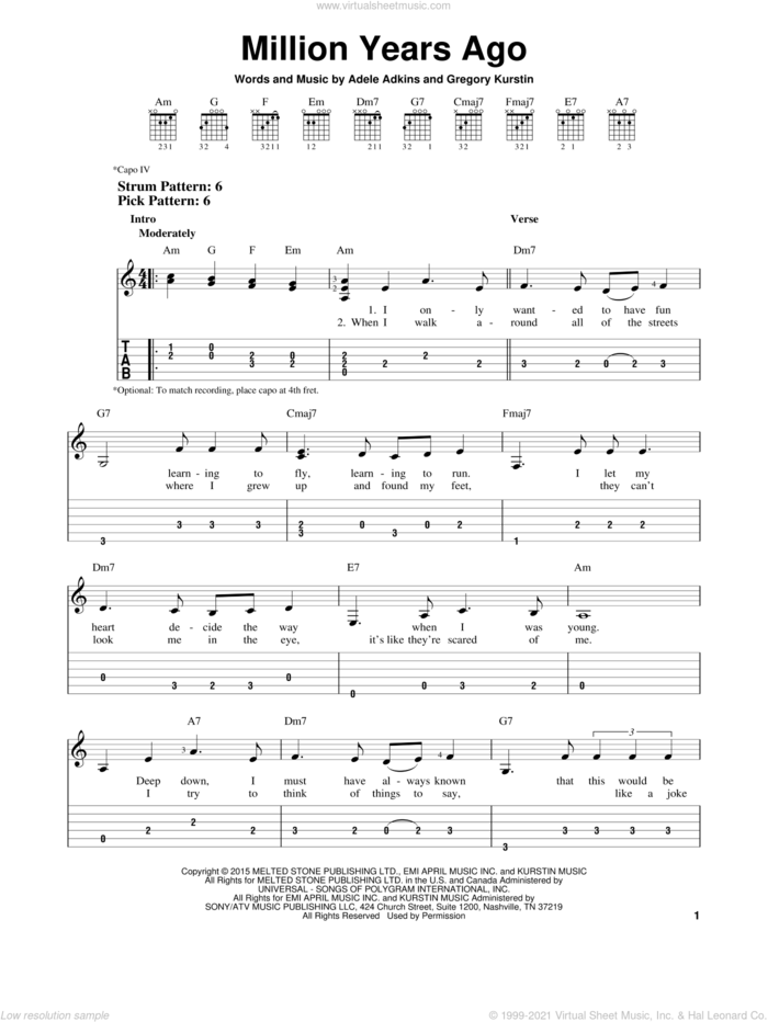 Million Years Ago sheet music for guitar solo (easy tablature) by Adele, Adele Adkins and Gregory Kurstin, easy guitar (easy tablature)