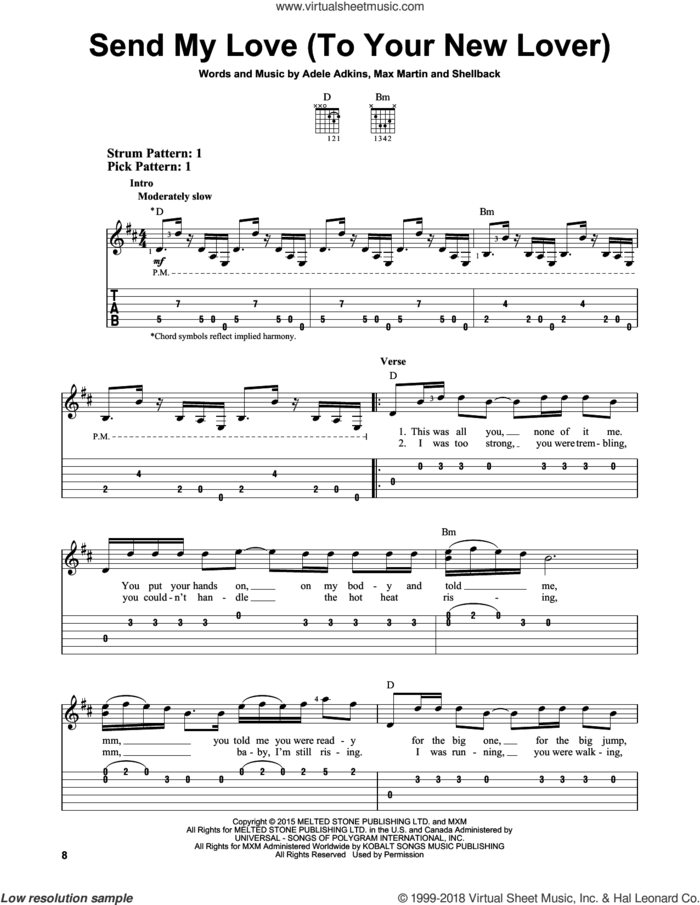 Send My Love (To Your New Lover) sheet music for guitar solo (easy tablature) by Adele, Adele Adkins, Johan Schuster, Max Martin and Shellback, easy guitar (easy tablature)