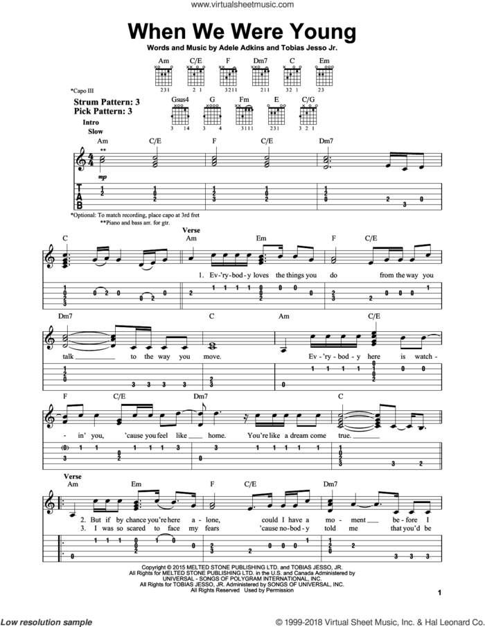 When We Were Young sheet music for guitar solo (easy tablature) by Adele, Adele Adkins and Tobias Jesso Jr., easy guitar (easy tablature)