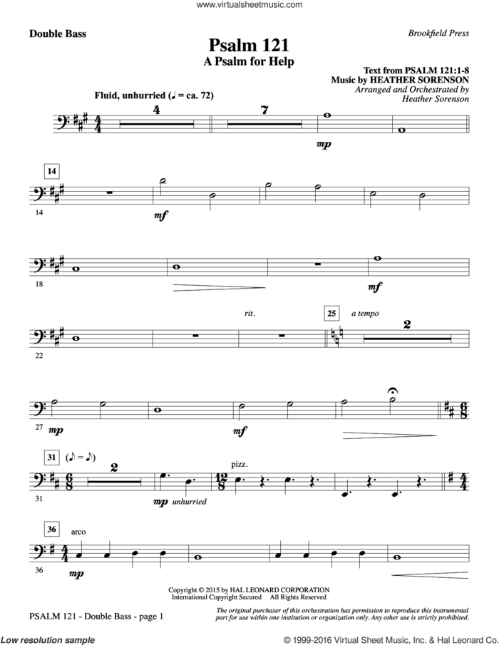 Psalm 121 (A Psalm For Help) sheet music for orchestra/band (double bass) by Heather Sorenson, intermediate skill level