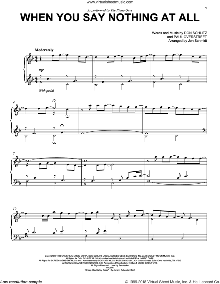 When You Say Nothing At All sheet music for cello and piano by The Piano Guys, Alison Krauss & Union Station, Keith Whitley, Don Schlitz and Paul Overstreet, intermediate skill level