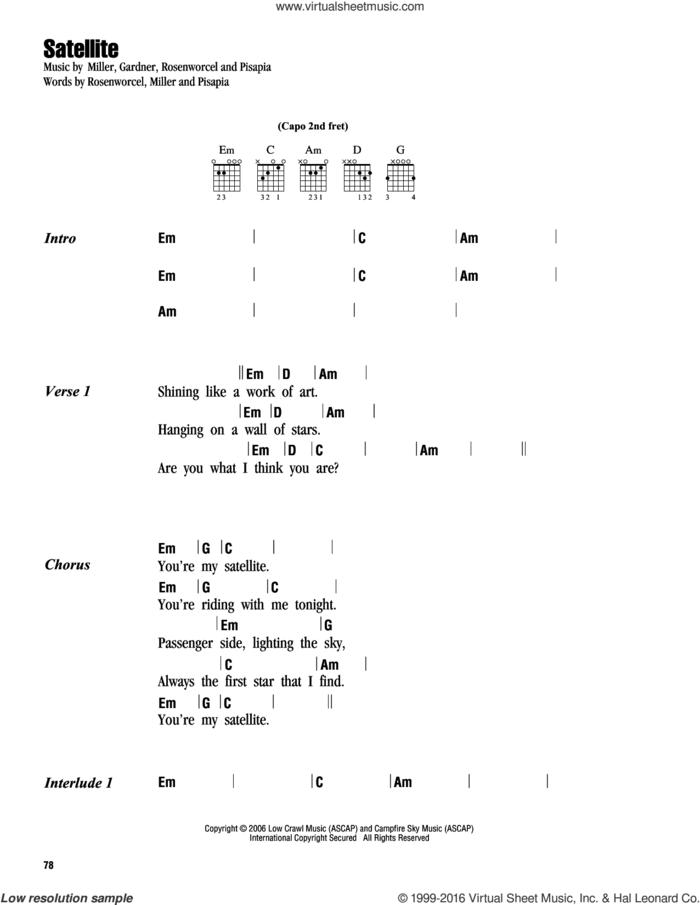 Satellite sheet music for guitar (chords) by Guster, Gardner, Pisapia and Rosenworcel, intermediate skill level