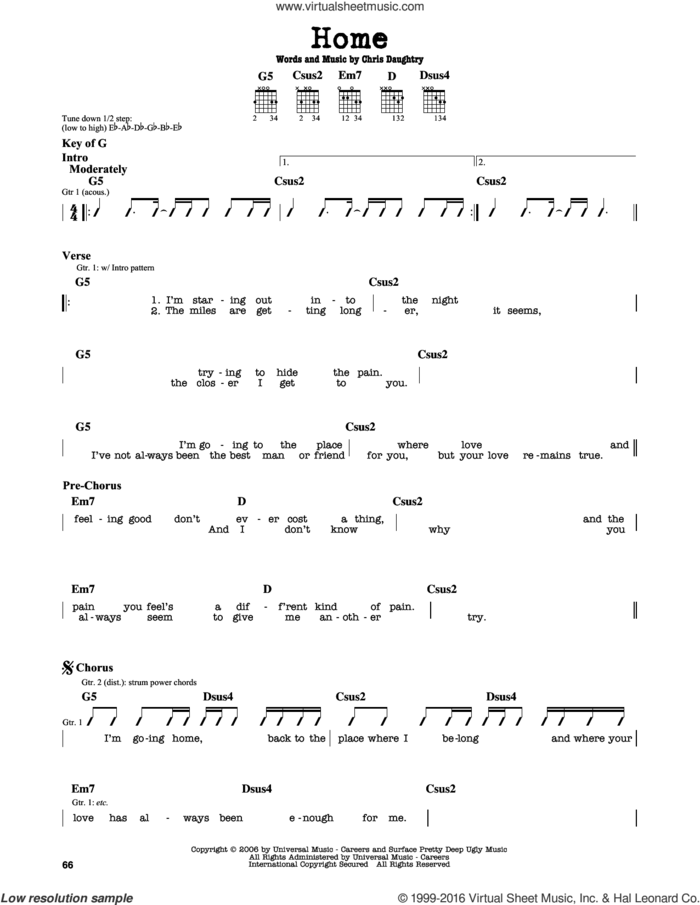 Home sheet music for guitar solo (lead sheet) by Daughtry and Chris Daughtry, intermediate guitar (lead sheet)