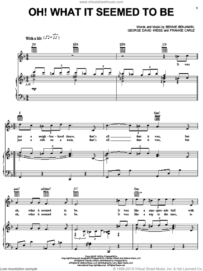 Oh! What It Seemed To Be sheet music for voice, piano or guitar by Frankie Carle, Bennie Benjamin and George David Weiss, intermediate skill level