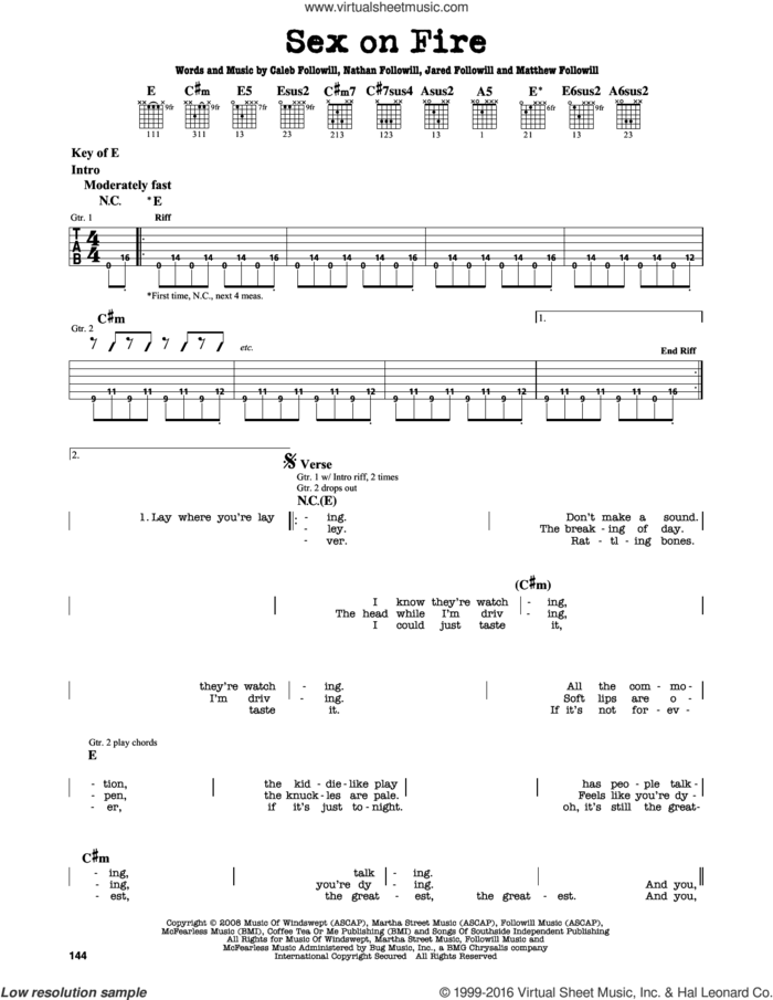 Sex On Fire sheet music for guitar solo (lead sheet) by Kings Of Leon, Caleb Followill, Jared Followill, Matthew Followill and Nathan Followill, intermediate guitar (lead sheet)