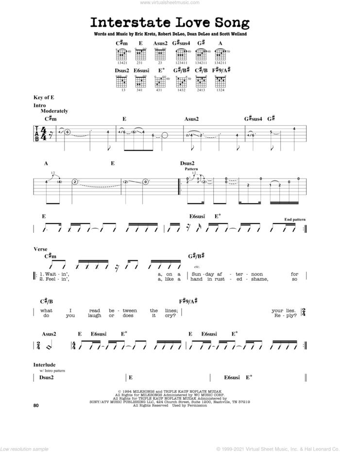 Interstate Love Song sheet music for guitar solo (lead sheet) by Stone Temple Pilots, Dean DeLeo, Eric Kretz, Robert DeLeo and Scott Weiland, intermediate guitar (lead sheet)