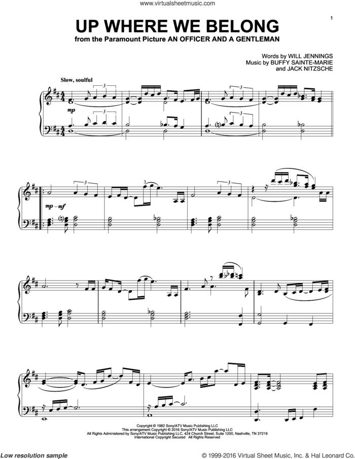 Up Where We Belong sheet music for piano solo by Joe Cocker & Jennifer Warnes, BeBe and CeCe Winans, Buffy Sainte-Marie, Jack Nitzche and Will Jennings, intermediate skill level