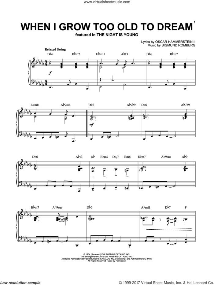 When I Grow Too Old To Dream [Jazz version] (arr. Brent Edstrom) sheet music for piano solo by Sigmund Romberg and Oscar II Hammerstein, intermediate skill level