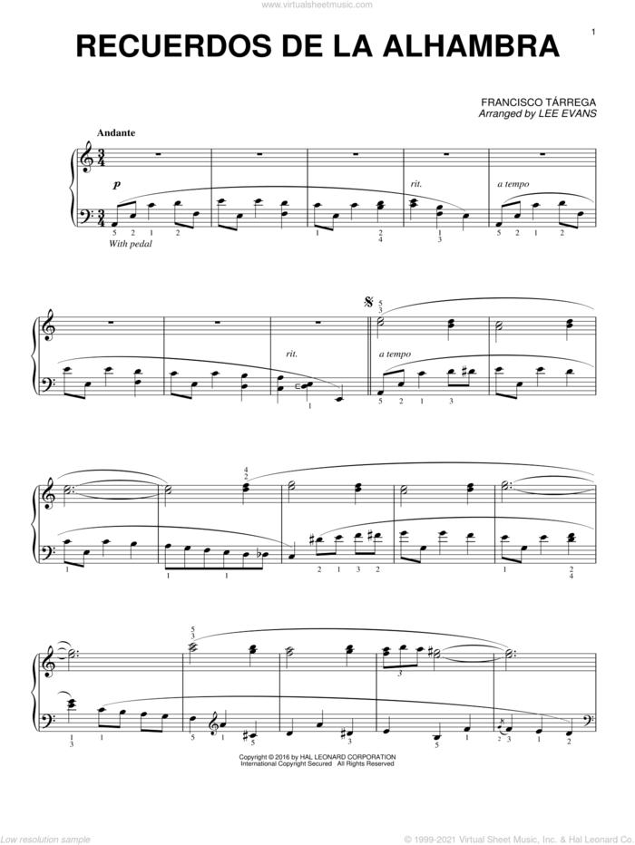 Recuerdos de la Alhambra (arr. Lee Evans) sheet music for piano solo by Francisco Tarrega and Lee Evans, classical score, intermediate skill level