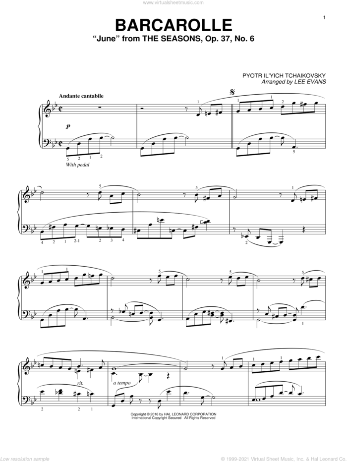Barcarolle In G Minor ('June'), Op. 37, No. 6 (arr. Lee Evans) sheet music for piano solo by Pyotr Ilyich Tchaikovsky and Lee Evans, classical score, intermediate skill level