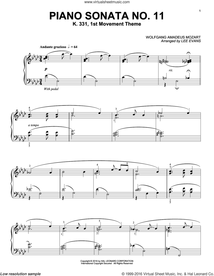 Piano Sonata In A Major, K.331, 1st Movement sheet music for piano solo by Wolfgang Amadeus Mozart and Lee Evans, classical score, intermediate skill level