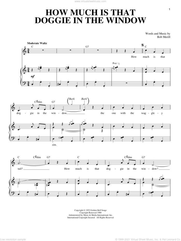 How Much Is That Doggie In The Window sheet music for voice and piano by Bob Merrill, Baby Jane & The Rockabyes and Louise Lerch, intermediate skill level