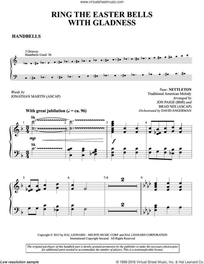 Ring the Easter Bells with Gladness sheet music for orchestra/band (handbells) by Brad Nix, Jon Paige and Jonathan Martin, intermediate skill level