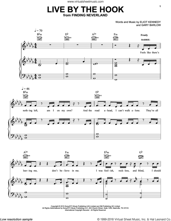 Live By The Hook sheet music for voice, piano or guitar by Gary Barlow and Eliot Kennedy, intermediate skill level