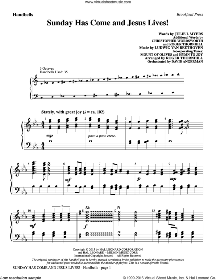 Sunday Has Come and Jesus Lives! sheet music for orchestra/band (handbells) by Ludwig van Beethoven, Julie I. Myers, Christopher Wordsworth, Julie Myers and Roger Thornhill, intermediate skill level