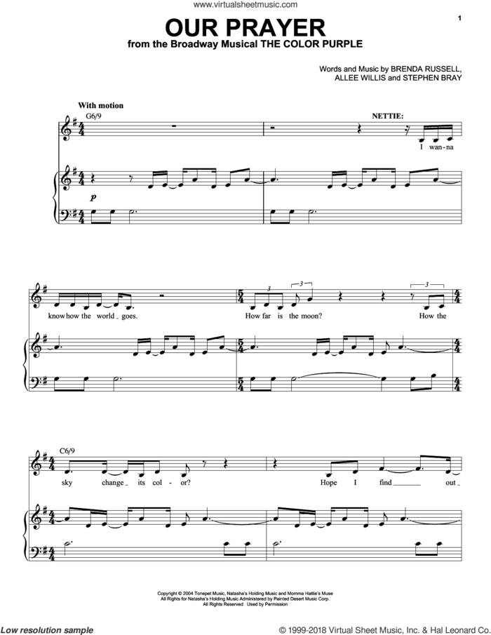 Our Prayer sheet music for voice and piano by Stephen Bray, Allee Willis and Brenda Russell, intermediate skill level