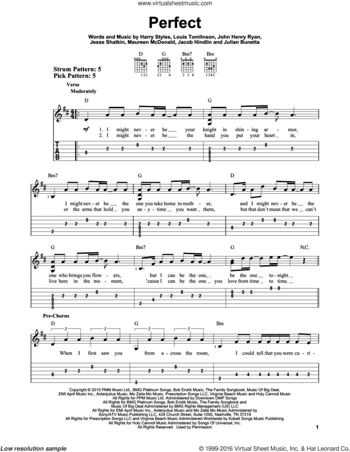 Perfect sheet music for guitar solo (easy tablature) by One Direction, Harry Styles, Jacob Hindlin, Jesse Shatkin, John Henry Ryan, Julian Bunetta, Louis Tomlinson and Maureen Mcdonald, easy guitar (easy tablature)