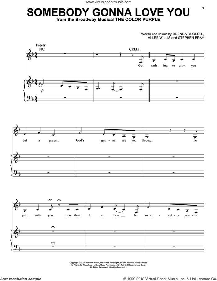 Somebody Gonna Love You sheet music for voice and piano by Allee Willis, Brenda Russell and Stephen Bray, intermediate skill level