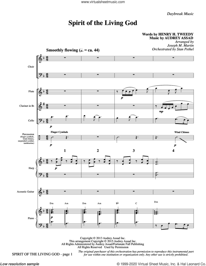 Spirit of the Living God (COMPLETE) sheet music for orchestra/band by Joseph M. Martin, Audrey Assad, Henry H. Tweedy and Henry Hellam Tweedy, intermediate skill level