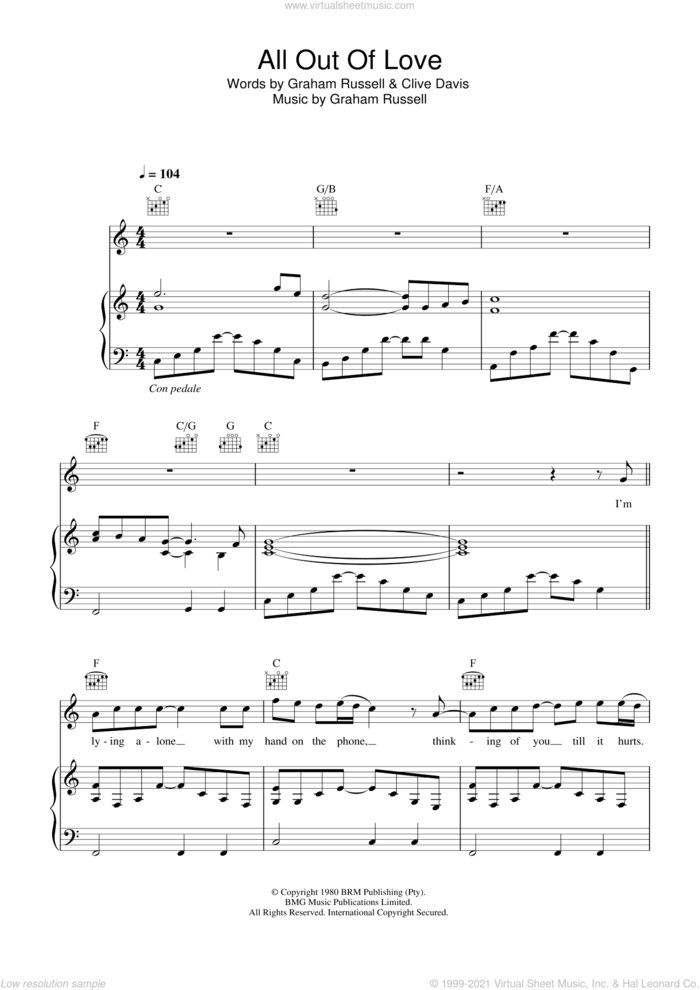 All Out Of Love sheet music for voice, piano or guitar by Westlife, Clive Davis and Graham Russell, intermediate skill level