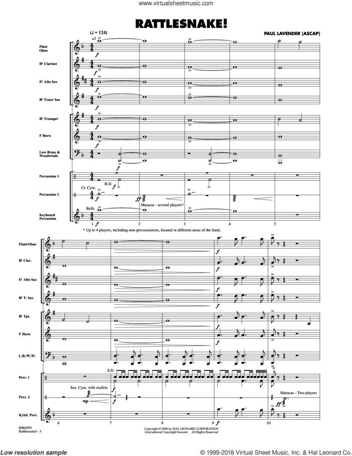 Rattlesnake! (COMPLETE) sheet music for concert band by Paul Lavender, intermediate skill level