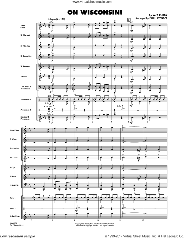 On Wisconsin! (COMPLETE) sheet music for concert band by Paul Lavender, Carl Beck and W.T. Purdy, intermediate skill level