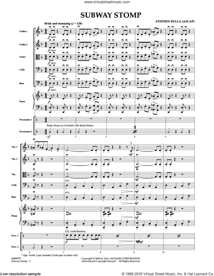 Subway Stomp (COMPLETE) sheet music for orchestra by Stephen Bulla, intermediate skill level