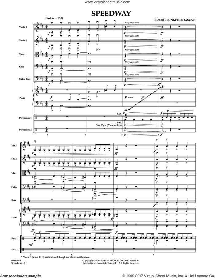 Speedway (COMPLETE) sheet music for orchestra by Robert Longfield, intermediate skill level