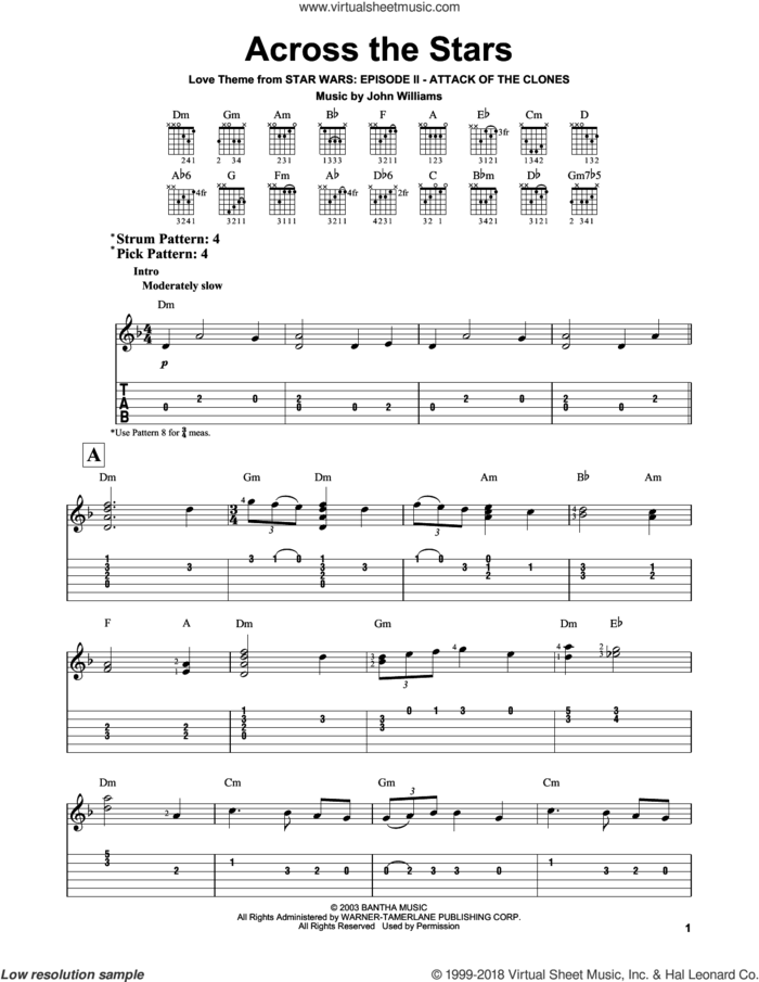 Across The Stars (from Star Wars: Attack of the Clones) sheet music for guitar solo (easy tablature) by John Williams, easy guitar (easy tablature)
