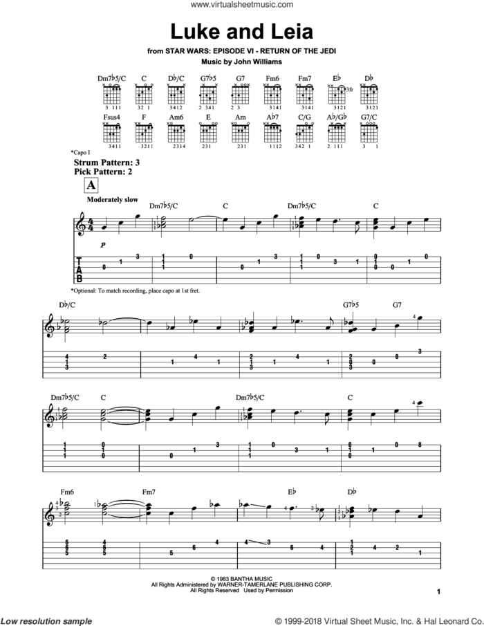 Luke And Leia (from Star Wars: Return of the Jedi) sheet music for guitar solo (easy tablature) by John Williams, easy guitar (easy tablature)