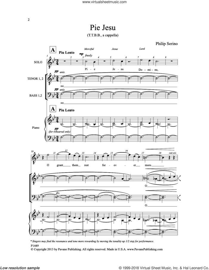 Pie Jesu sheet music for choir (TTBB: tenor, bass) by Philip Serino, intermediate skill level