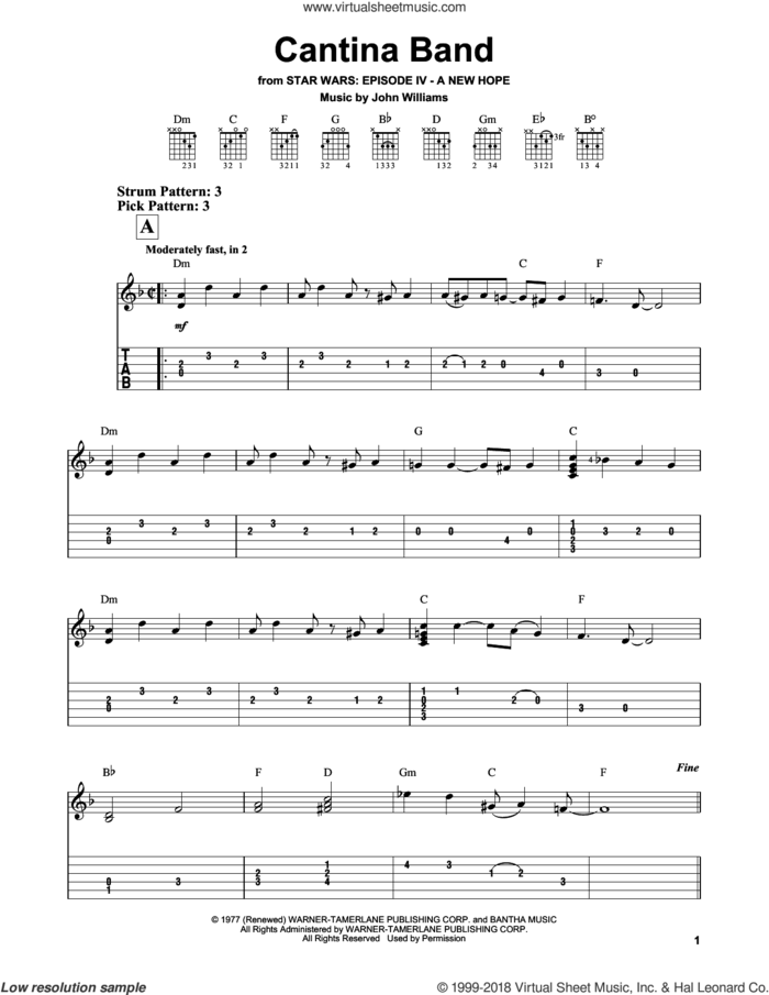 Cantina Band (from Star Wars: A New Hope) sheet music for guitar solo (easy tablature) by John Williams, easy guitar (easy tablature)
