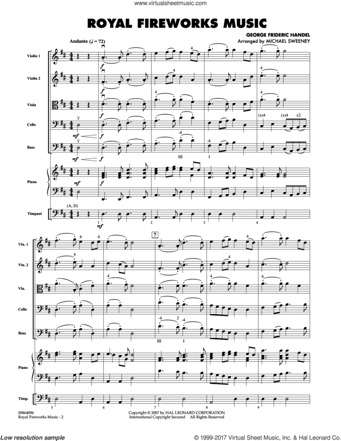 Royal Fireworks Music (COMPLETE) sheet music for orchestra by George Frideric Handel, G.F. HA�A�ndel, G.F. Handel and Michael Sweeney, classical score, intermediate skill level