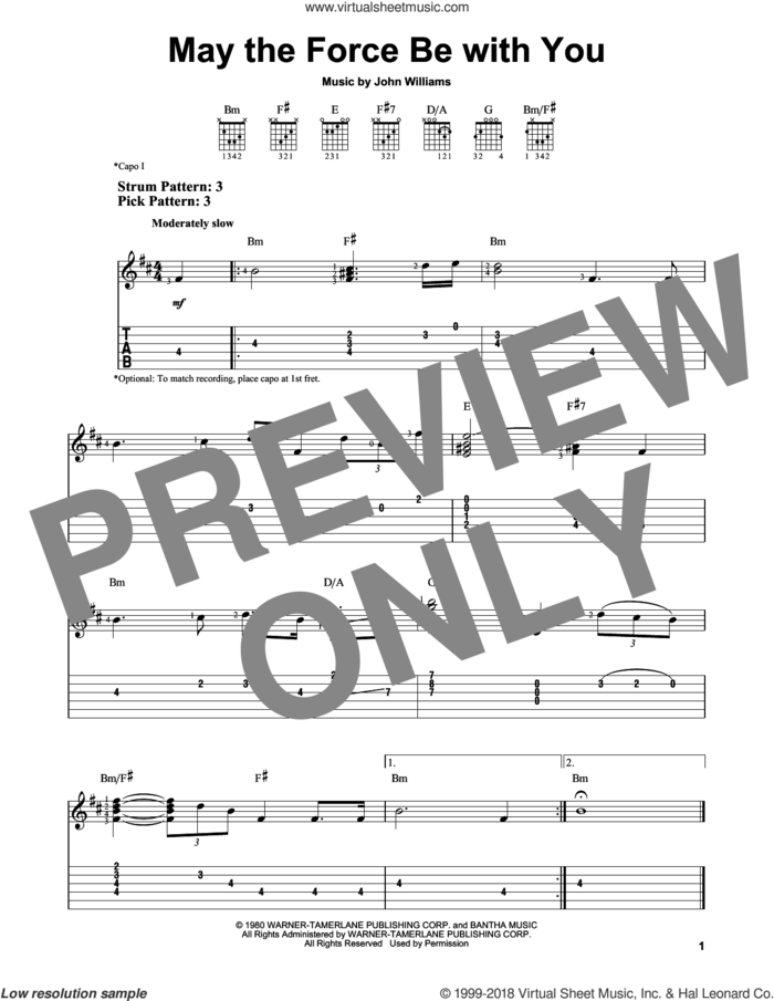 May The Force Be With You (from Star Wars: A New Hope) sheet music for guitar solo (easy tablature) by John Williams, easy guitar (easy tablature)