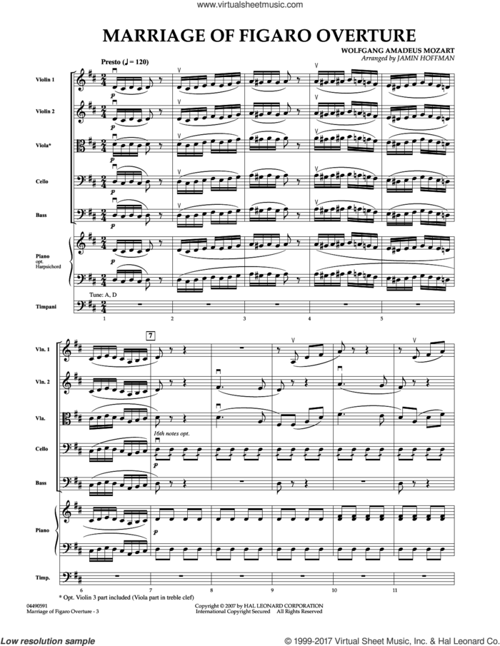 Overture to Marriage of Figaro (COMPLETE) sheet music for orchestra by Wolfgang Amadeus Mozart and Jamin Hoffman, classical score, intermediate skill level