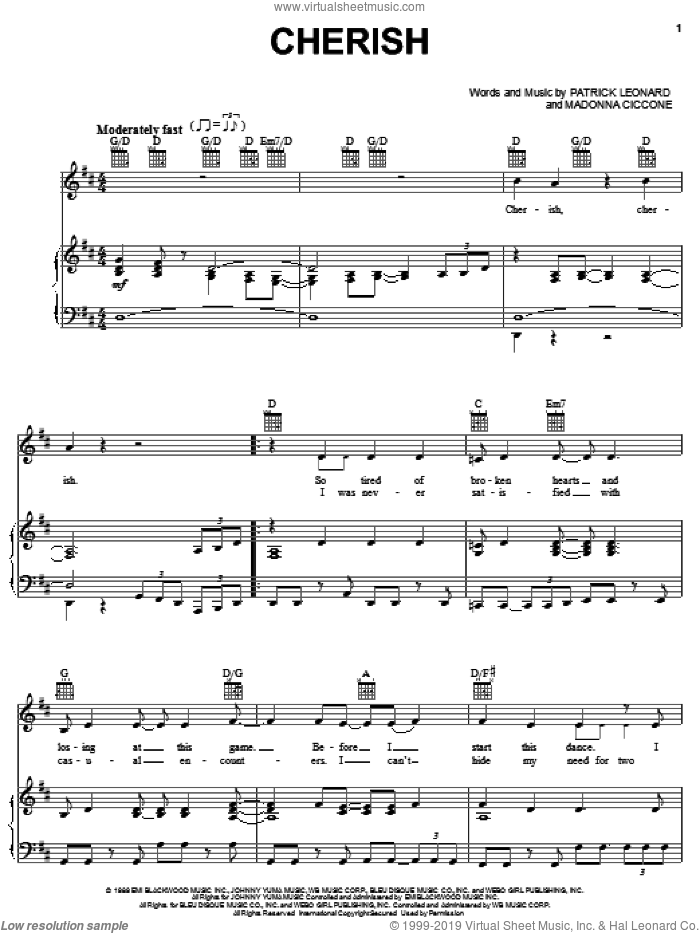 Cherish sheet music for voice, piano or guitar by Madonna and Patrick Leonard, intermediate skill level