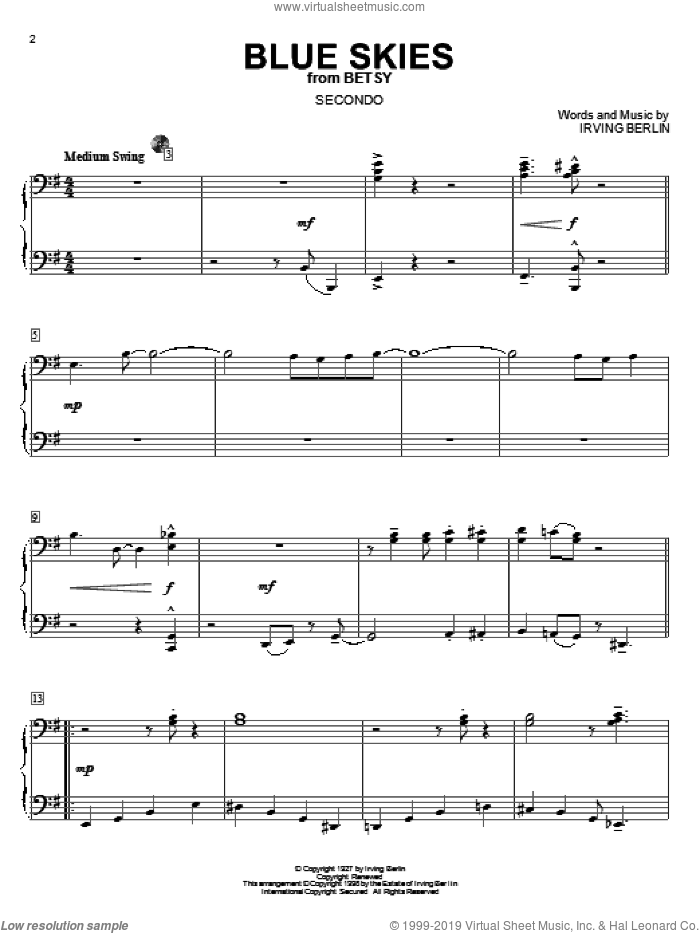 Blue Skies sheet music for piano four hands by Irving Berlin, intermediate skill level