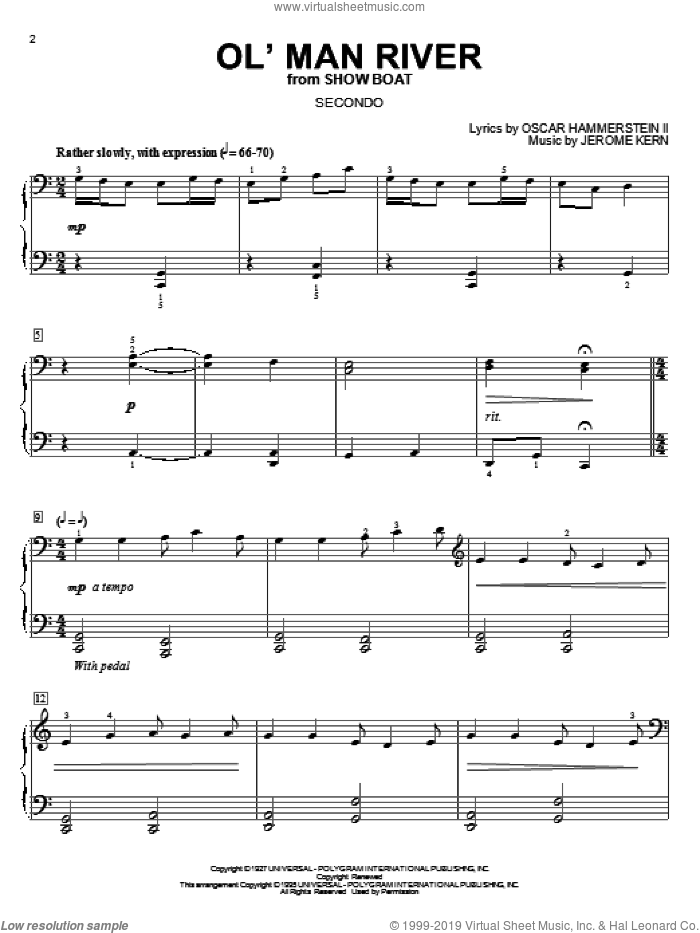 Ol' Man River sheet music for piano four hands by Jerome Kern, Show Boat (Musical) and Oscar II Hammerstein, intermediate skill level