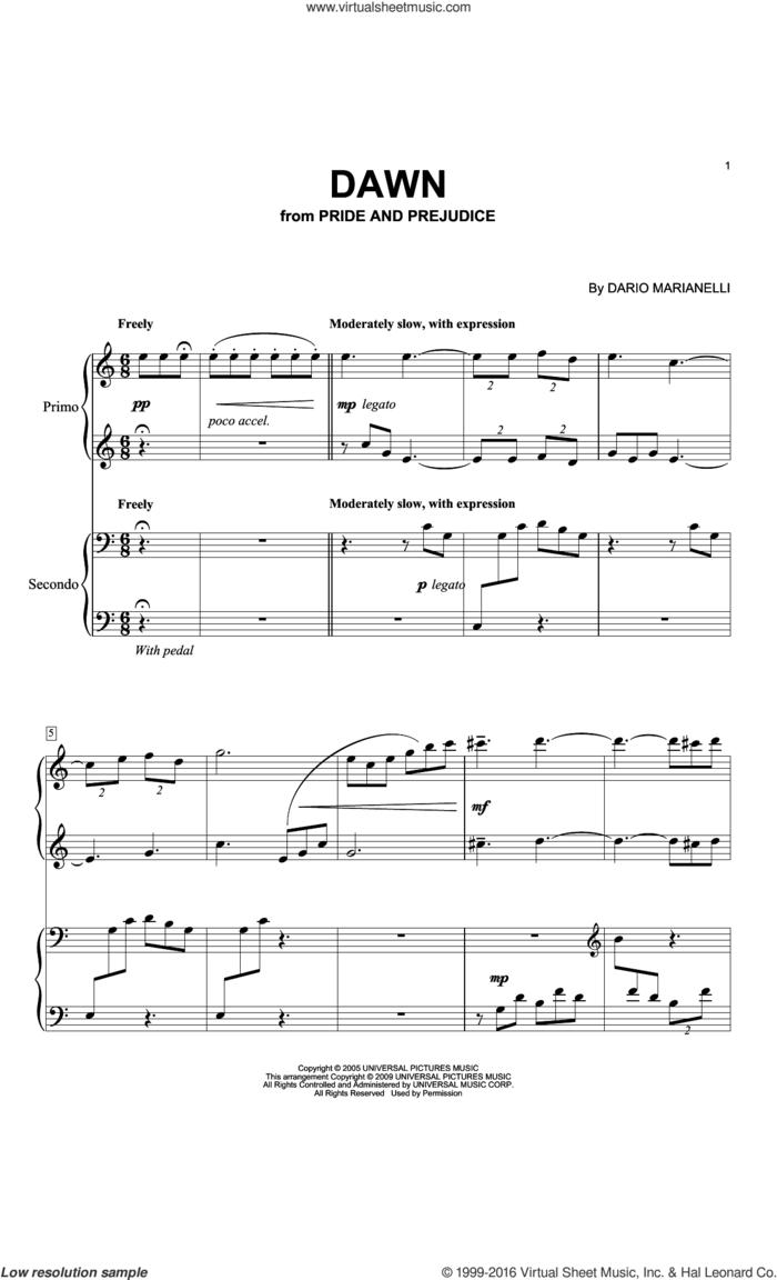 Dawn sheet music for piano four hands by Dario Marianelli, intermediate skill level