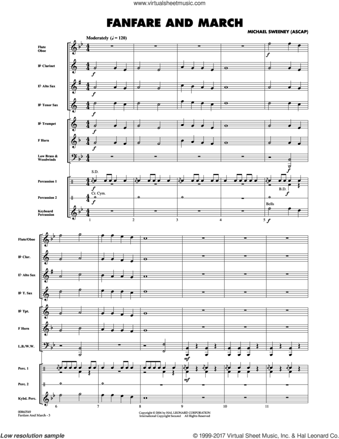 Fanfare And March (COMPLETE) sheet music for concert band by Michael Sweeney, intermediate skill level