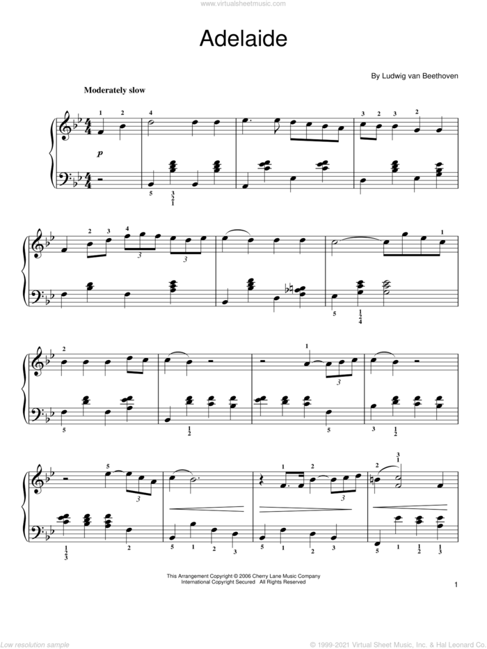Adelaide, Op. 46 sheet music for piano solo by Ludwig van Beethoven, classical score, easy skill level