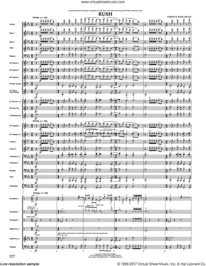 Rush (COMPLETE) sheet music for concert band by Samuel R. Hazo, intermediate skill level