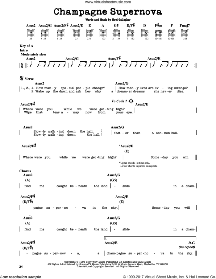 Champagne Supernova sheet music for guitar solo (lead sheet) by Oasis and Noel Gallagher, intermediate guitar (lead sheet)