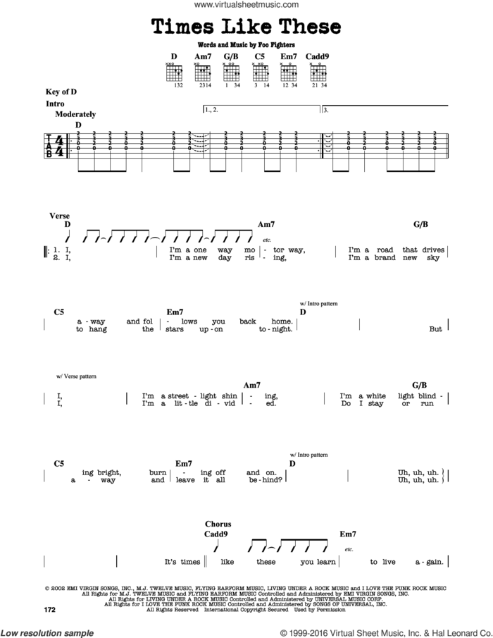 Times Like These sheet music for guitar solo (lead sheet) by Foo Fighters, intermediate guitar (lead sheet)