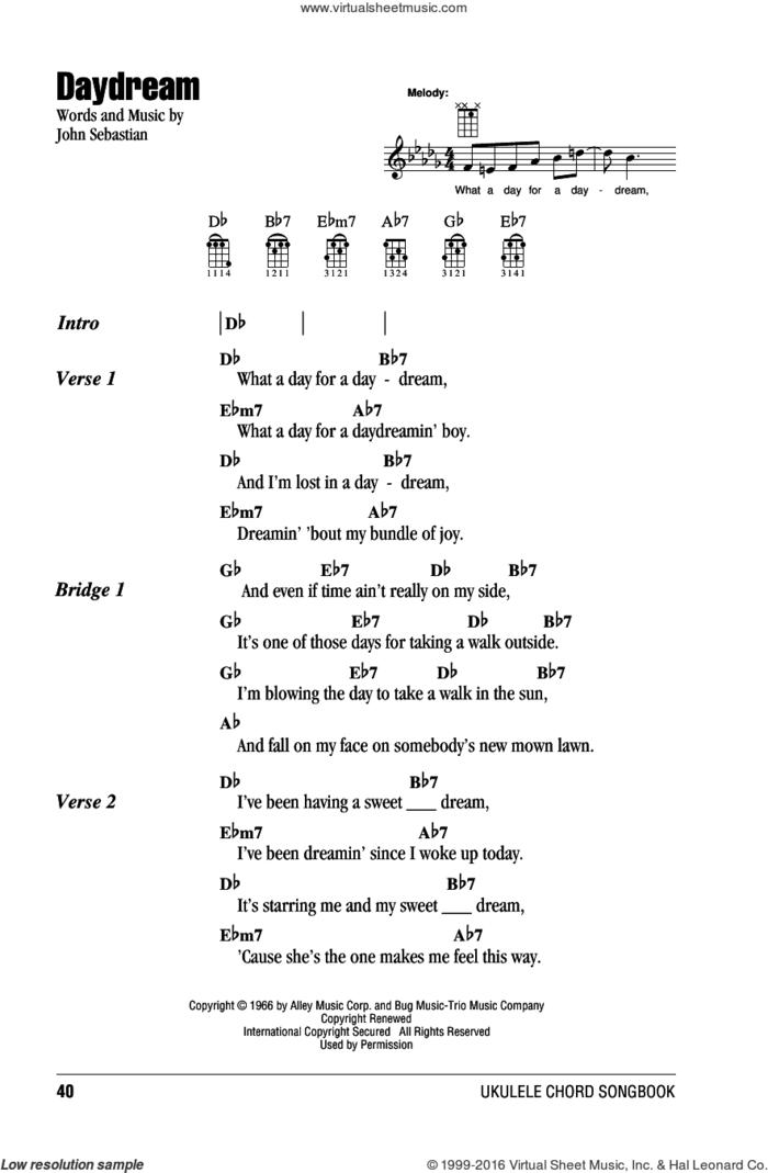 Daydream sheet music for ukulele (chords) by Lovin' Spoonful and John Sebastian, intermediate skill level