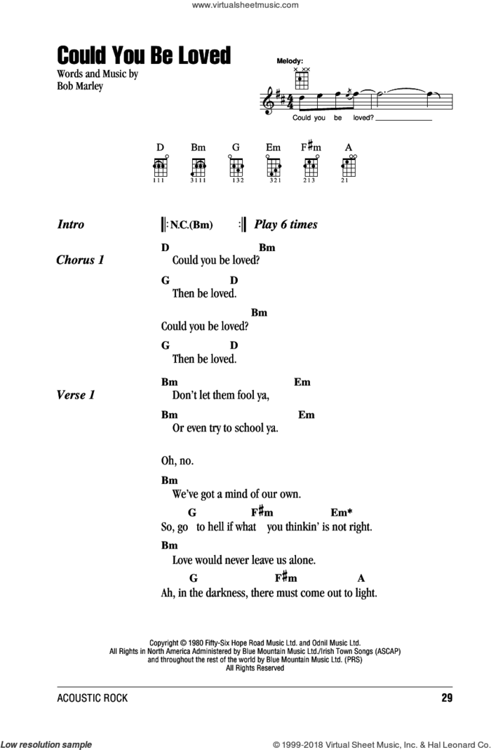Could You Be Loved sheet music for ukulele (chords) by Bob Marley and The Wailers and Bob Marley, intermediate skill level