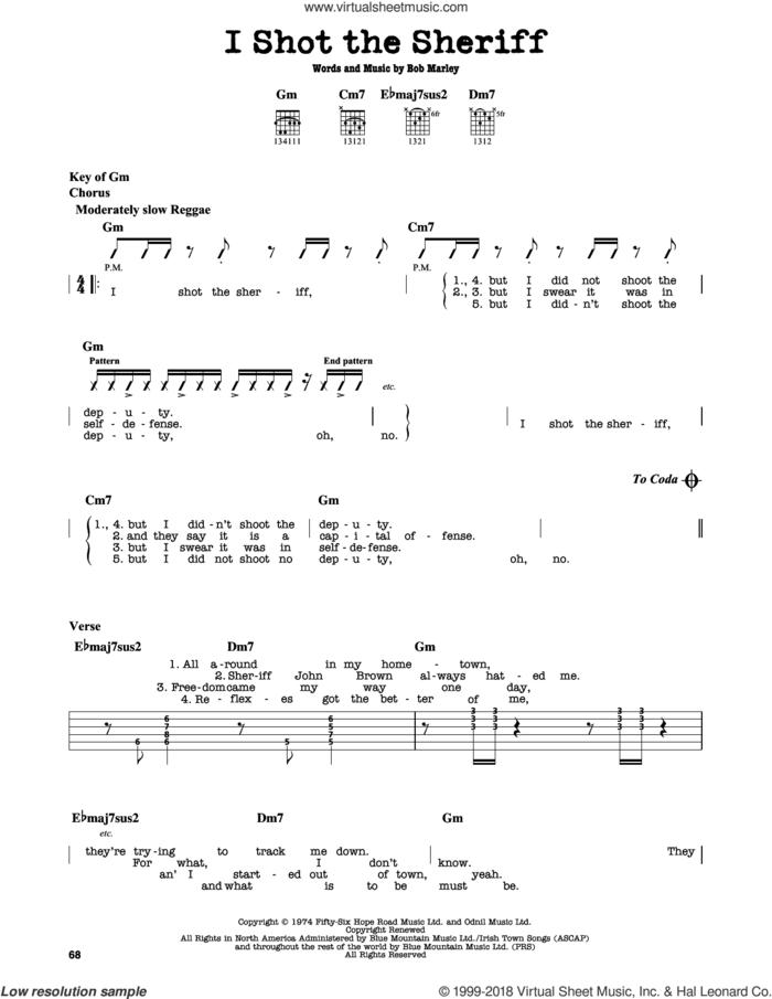 I Shot The Sheriff sheet music for guitar solo (lead sheet) by Bob Marley, Eric Clapton and Warren G, intermediate guitar (lead sheet)
