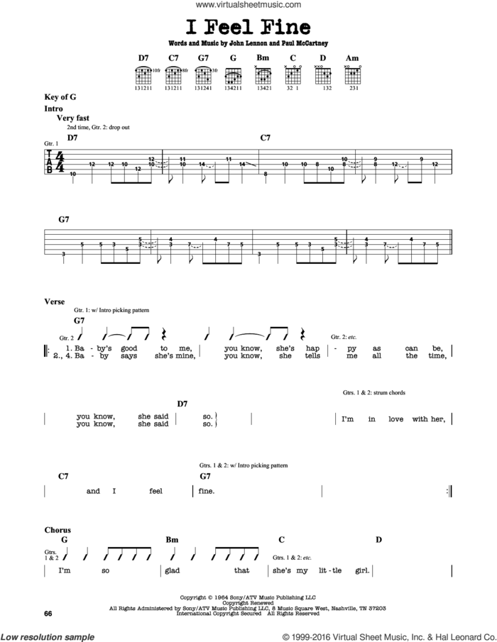 I Feel Fine sheet music for guitar solo (lead sheet) by The Beatles, John Lennon and Paul McCartney, intermediate guitar (lead sheet)